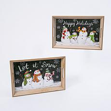 Set of 2 Wood Nesting Holiday Snowman Trays