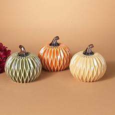 Set of 3 Dolomite Harvest Pumpkins with Diamond Design