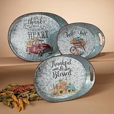 Set of 3  Galvanized Metal Harvest Trays with Decorated Scenes