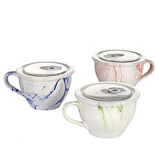 Set of 3 Marble Souper Mugs with Lids
