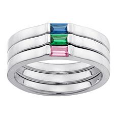 Set of 3 Stackable Sterling Birthstone Crystal Rings