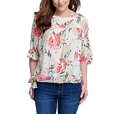 Seven7 Dolman Top With Tie - Fresh Floral Persimmon