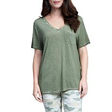 Seven7 Short Sleeve High-Low Oil Wash Tee
