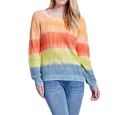 Seven7 Tie Dye Pullover Sweater - Living Coral Combo