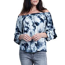 Seven7 Tie Dye Tier-Sleeve Off-Shoulder Top