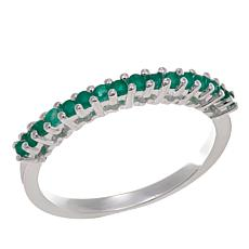 Sevilla Silver™ 0.16ctw Round Emerald Band Ring