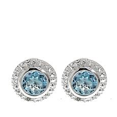 Sevilla Silver™ 1.08ctw Blue Topaz and Diamond Accent Stud Earrings