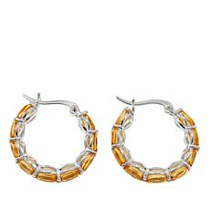 Sevilla Silver™ 1.08ctw Oval Citrine Hoop Earrings