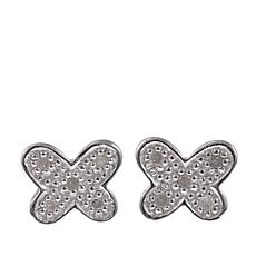 Sevilla Silver™ .10ctw Diamond-Accented Butterfly Stud Earrings