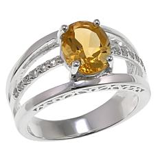 Sevilla Silver™ 1.57ctw Citrine and Topaz 3-Row Ring