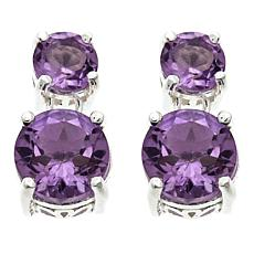 Sevilla Silver™ 1.66ctw Round Amethyst Double Drop Earrings