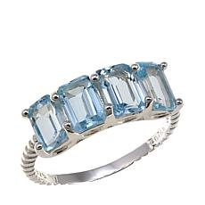 Sevilla Silver™ 2.12ctw Emerald-Cut Blue Topaz Ring