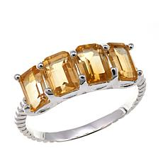 Sevilla Silver™ 2.12ctw Emerald-Cut Citrine Ring