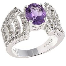 Sevilla Silver™ 2.19ctw Oval Amethyst and White Topaz Ring