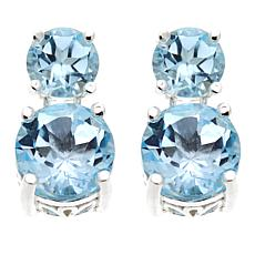 Sevilla Silver™ 2.2ctw Round Blue Topaz Double Drop Earrings
