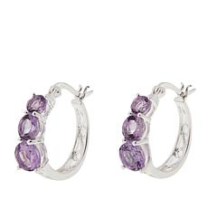 Sevilla Silver™ 2.38ctw 3-Stone Amethyst Graduated Hoop Earrings