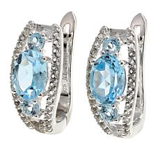 Sevilla Silver™ 3.45ctw 3-Stone Blue Topaz and White Topaz Earrings