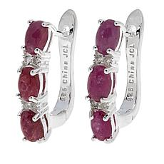 Sevilla Silver™ 4.4ctw Ruby and White Topaz 3-Stone Hoop Earrings