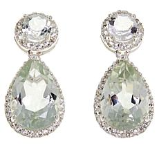 Sevilla Silver™ 7.02ctw Prasiolite and White Topaz Drop Earrings