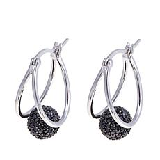 Sevilla Silver™ Black Spinel Spinner Hoop Earrings