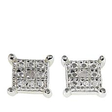 Sevilla Silver™ Diamond-Accented Square Stud Earrings