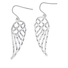 Sevilla Silver™ Diamond-Cut Wing Design Drop Earrings