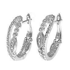 Sevilla Silver™ Diamond Press 2-Row Petite Hoop Earrings