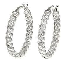 "Sevilla Silver™ Diamond Press ""Wave"" Hoop Earrings"