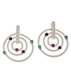 Sevilla Silver™ Gemstone Multi Circle Drop Earrings