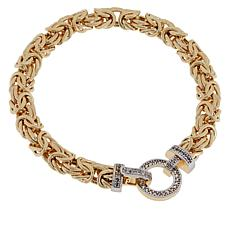 Sevilla Silver™ Gold-Plated Byzantine Bracelet with Gemstone Clasp