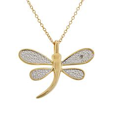 Sevilla Silver™ Gold-Plated Diamond-Accented Dragonfly Pendant w/Chain