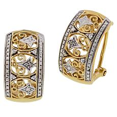 Sevilla Silver™ Gold-Plated Diamond-Accented Hugger Earrings
