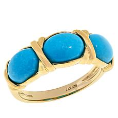 Sevilla Silver™ Gold-Plated Oval Turquoise 3-Stone Ring