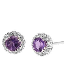 Sevilla Silver™ Round Amethyst/White Topaz Stud Earrings