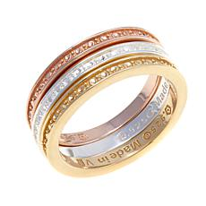 Sevilla Silver™ Set of 3 Diamond-Pressed Band Rings