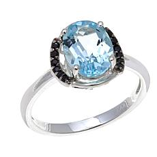 Sevilla Silver™ Sky Blue Topaz and Black Spinel Ring