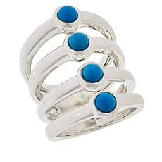 Sevilla Silver™ Turquoise 4-Row Band Ring