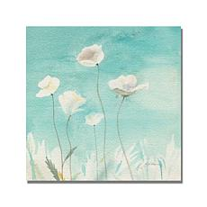 "Shelia Golden ""White Poppies"" Canvas Art - 18"" x 18"""