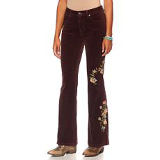 Sheryl Crow Embroidered Floral Flared Corduroy Jean
