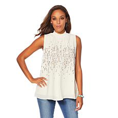 Sheryl Crow Embroidered Mock-Neck Blouse