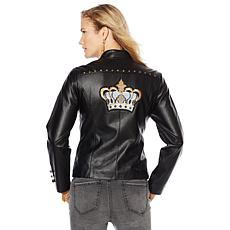 Sheryl Crow Faux Leather Military Jacket