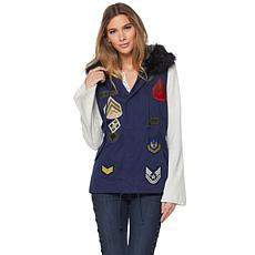 Sheryl Crow Military Patch Vest with Faux Fur Hood