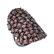 Sheryl Jones 20.4ctw Red Zircon Cobblestone Black Sterling Silver Ring