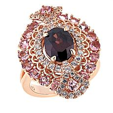 Sheryl Jones 3.69ctw Red Zircon and Multigem Rose Gold-Plated Ring