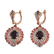 Sheryl Jones 6.16ctw Red Zircon Multigem Rose Gold-Plated Earrings
