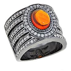 Sheryl Jones Fine Jewelry 2.37ct Fire Opal and White Zircon Black Ring