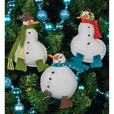 Simple Snowmen Ornaments Felt Appliqués - Set of 3