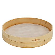 Simply Ming Blue Diamond Bamboo Steamer with Mesh Insert Set