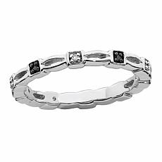 Simply Stacks™ Sterling Silver Black & White Diamond Square Set Ring
