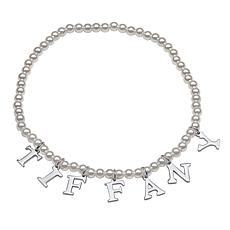 Simulated Pearl Name Stretch Bracelet